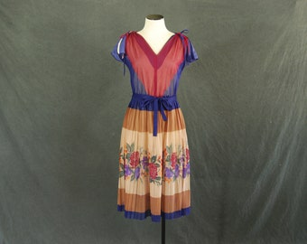 vintage 70s Dress - 1970s Sheer Stripe Print Dress - Boho Floral Dress Sz S M