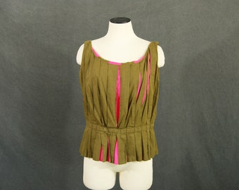 vintage 60s Tank Top - 1960s Mod Olive Green and Pink Color Block Pleated Peplum Bodice Blouse SZ  L