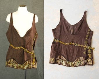 vintage 20s Blouse - 1920s Embroidered Silk Tank Top Tunic Art Deco Layering Top Sz L