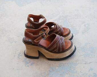 vintage 90s Platform Shoes - 1990s London Underground Sandals Leather Wood Platform Sandals Sz 9 9.5