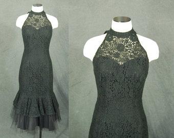 vintage 50s Lilli Diamond Dress - Black Lace Wiggle Dress - 1950s Fishtale Hem Party Dress Sz S