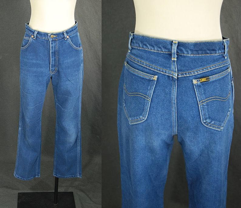 vintage 80s Lee Jeans  1980s High Waist Mom Jeans Broken in image 0