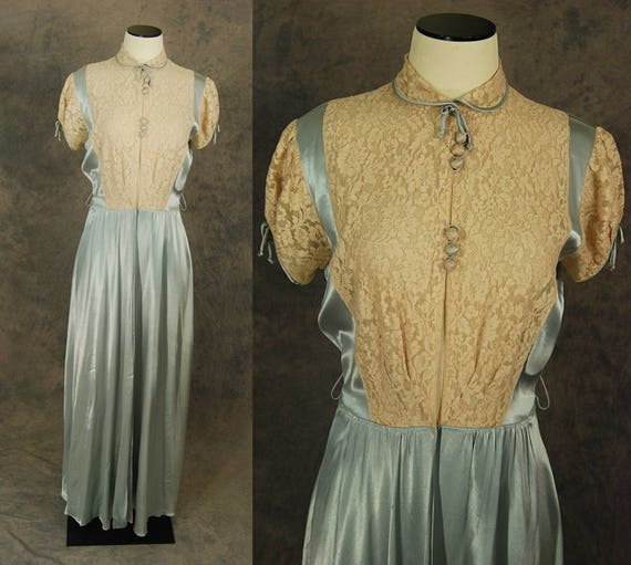 vintage 30s Robe - 1930s Liquid Satin and Lace Dre