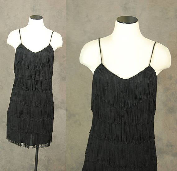 vintage 80s Fringe Dress Black Fringe Flapper Dress 1980s Wiggle Cocktail Dress Sz S