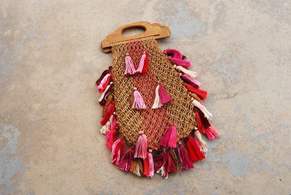 vintage 70s Market Bag 1970s Boho Crochet Macrame