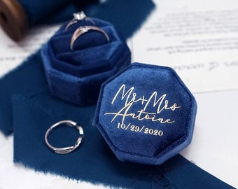 Velvet Ring Box, Wedding Ring Box, Ring Bearer Box, Engagement Ring Box, Proposal Ring Box, Double Slot Ring Box for Wedding Ceremony
