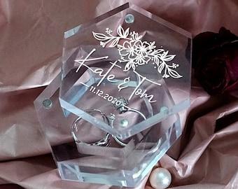 Wedding Ring Box, Personalized Wedding Ring Box, Custom Acrylic Ring Box, Engraved Ring Bearer Box, Customized Engagement Ring Box