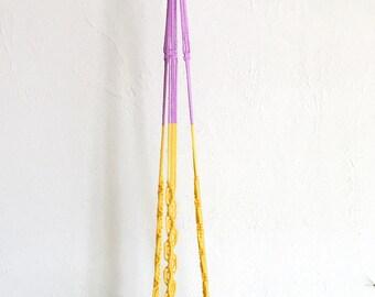 mod lilac & yellow plant hanger