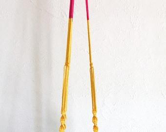mod pink & yellow plant hanger
