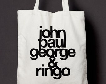 John Paul George & Ringo - Beatles - Cotton Canvas Tote Bag