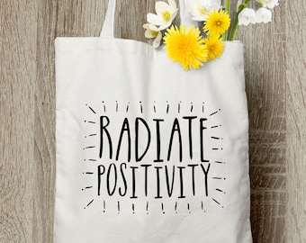 Radiate Positivity - Cotton Canvas Tote Bag