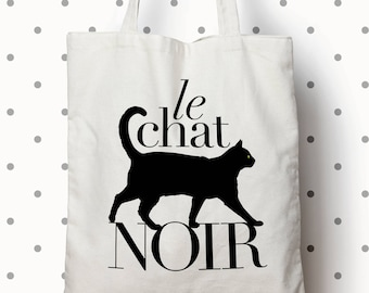 Le Chat Noir (The Black Cat) Canvas Tote bag