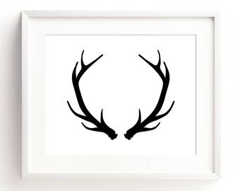 "Instant Printable ""Antlers"" 8 x 10"" (Black & White) Landscape, Printable Wall Art, Digital Download, Printable Art, A4"