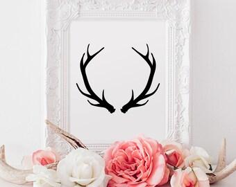 "Instant Printable ""Antlers"" 8 x 10"" (Black & White) Portrait, Printable Wall Art, Digital Download, Printable Art, A4"