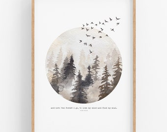 Into The Forest • PRINTABLE • INSTANT Download •  Wall Art • Nature • Boho • Outdoors • Many Sizes Available.