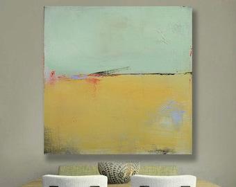 Ready to Hang Minimalist Abstract Landscape, Canvas Print, Large LandscapePrint,  Modern Art, Green, Gold, Natural, West Elm Artist