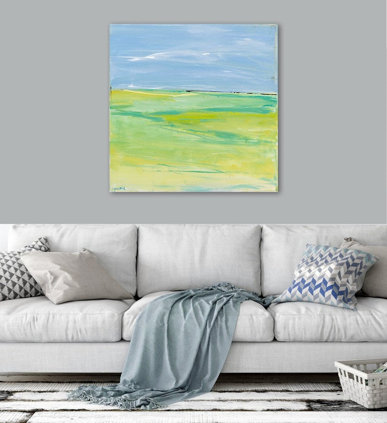 Large Abstract Landscape Art, Large 36x36 40x40 48x48 Canvas Print, Large  Coastal Wall Art, Lime Green Spring Colors, Large Canvas Print