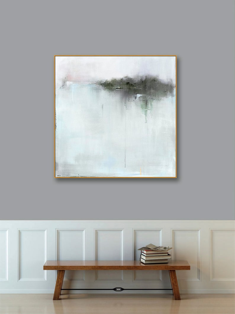 Large gold framed abstract landscape art canvas large 40x40 48x48 framed print gold frame black frame large framed abstract wall art