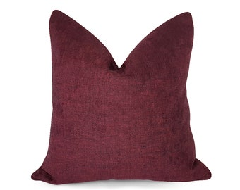"""2 Oxblood Classic Faux Leather Cushion Covers 16/"""" 18/"""" 20/"""" Scatter Pillows"""