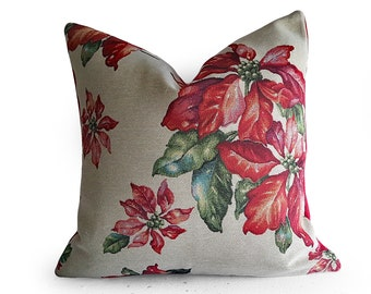Poinsettia Pillow Cover, Vintage Christmas Cushions, Two Styles, Country Decor, Patchwork Tapestry, Red Christmas Pillows, 18x18, NEW
