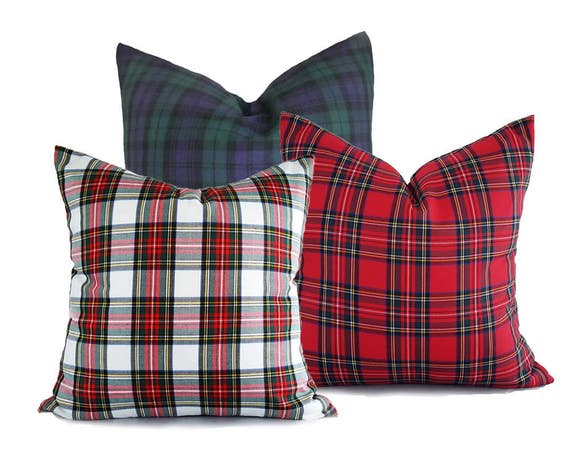 Christmas Pillows.Plaid Christmas Pillows Set Of 3 Christmas Cushion Covers White Red Blue Plaid Pillow Covers Traditional Holiday Pillows 18x18 20x20