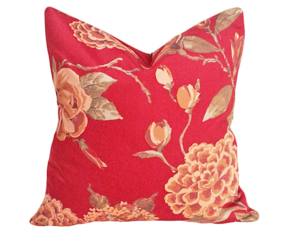 Red Floral Pillow Covers Rust Red Decorative Pillows Roses