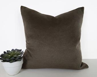 Textured Green Pillow, Dark Green Pillows, Solid Green Pillow, Decorative Couch Pillow, Faux Mohair, Cushion, Throw Pillow Covers, 20x20 NEW