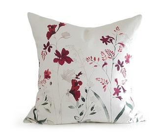 Red Floral Pillow Covers, Red Beige Throw Pillow, Cream, Garnet, Merlot, Sage Green, Bone White Cushion Cover, 16x16, 18x18, 16x20, 16x26