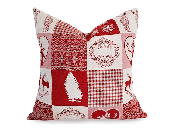 Red Christmas Pillow Farmhouse Christmas Decor Holiday Etsy