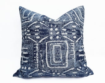 Blue Tribal Pillow Cover, Modern Boho Pillow, Light Blue Cushion Cover, 12x20, 16x26, 18x18, 20x20, NEW