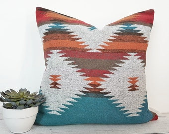 Teal Southwestern Pillow, Ethnic Pillows, Native American Pillows, Gray Turquoise, Blue Orange, Tribal Pillow Covers, 12x20, 18x18, 20x20