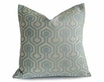 Blue Geometric Pillows, Blue Throw Pillow Cover, Blue Pillow Cover, Pale Blue Designer Pillow, Aqua Pillow, Lumbar 12x18, 18, 20, 22, 26