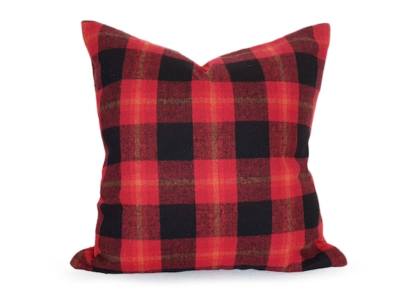 Winter Lodge Pillow Rustic Pillow Cover Red Wool Pillow Red Etsy Inspiration Winter Throw Pillow Covers