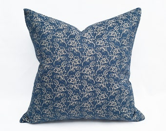 Denim Blue Pillow Cover, Small Blue Flowers, Farmhouse Cushion Covers, 12x20, 18x18, 20x20, 22x22, NEW