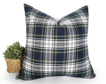 Christmas Cushions, Tartan Pillow, Christmas Plaid Pillows, Blue Green White Plaid Cushion Cover, Gordon Dress 100 Percent Wool, All Sizes