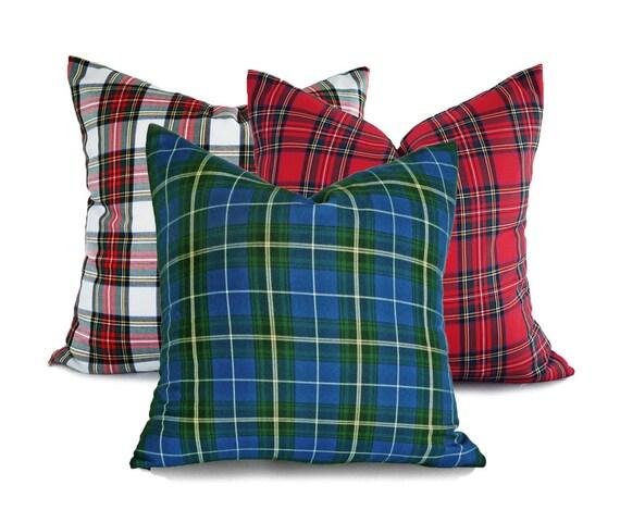 Plaid Christmas Pillows.Christmas Pillow Set Plaid Christmas Cushions Holiday Pillows Set Of 3 Red White Blue Pillow Christmas Pillow Covers 18x18 20x20