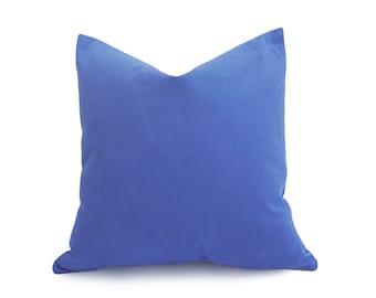 Solid Blue Pillow Covers, Medium Blue Throw Pillows, Violet Blue Cushion Covers, Washable, Zipper Pillow Cover, 12x20, 12x18 Lumbar Pillow