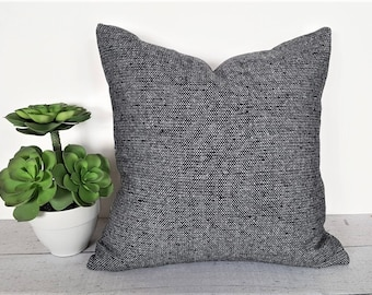 Wool Tweed Pillows, Textured Pillows, Black Throw Pillow, Mens Bedroom Decor, Nubby Gray Pillow Covers, 18, 20, 22