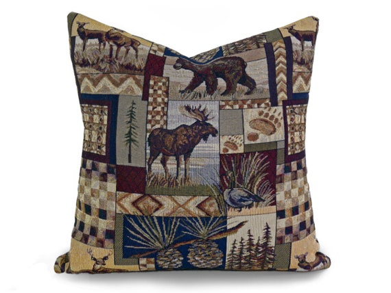 Awe Inspiring Wildlife Pillows Cabin Pillow Moose Pillow Throw Pillow Covers Peters Cabin Cushion Bear Pillows Deer Rustic Decor 14X20 18X18 20 Customarchery Wood Chair Design Ideas Customarcherynet