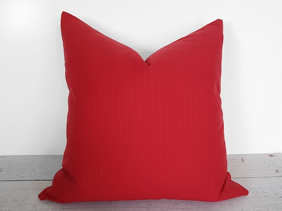Red Sofa Pillow, Pinstripe Pillow, Striped Pillows, Accent Pillows, Solid  Red, Red Pillow Cover, Red Cushion, Cottage Chic Decor, 20x20
