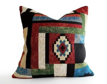 Rust Southwestern Pillow Cover, Geometric Throw Pillow for Rustic Farmhouse Decor, 12x18, 16x26, 18x18, 20x20, 22x22, NEW