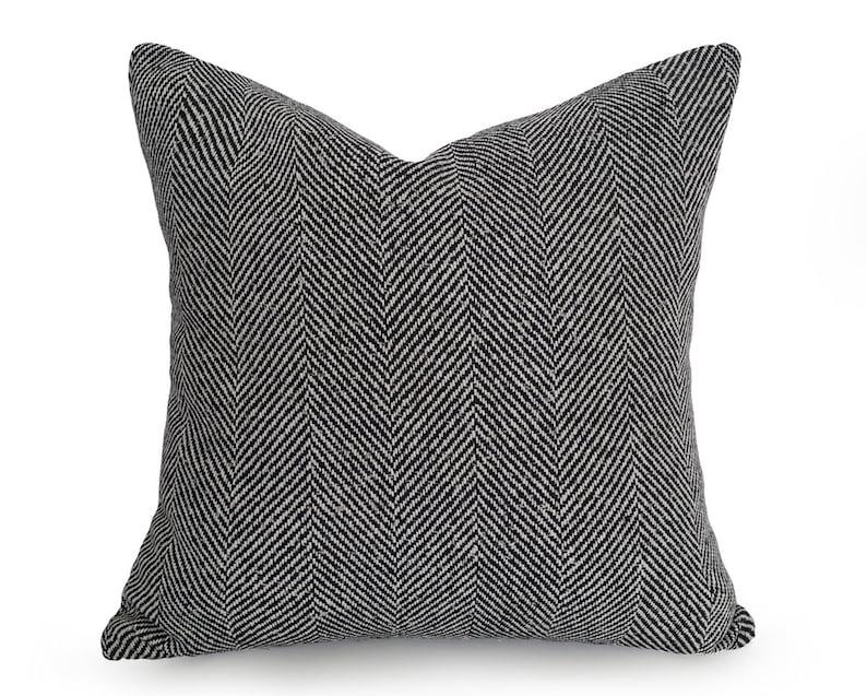 Black Textured Pillow Large Herringbone Pillow Rustic Wool | Etsy