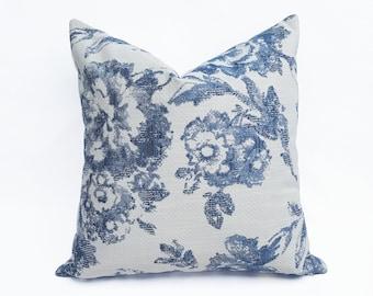 Blue White Floral Pillow Covers, Jacobean Floral Cushions, French Farmhouse Decor, 12x20, 16x16, 18x18, 20x20, NEW