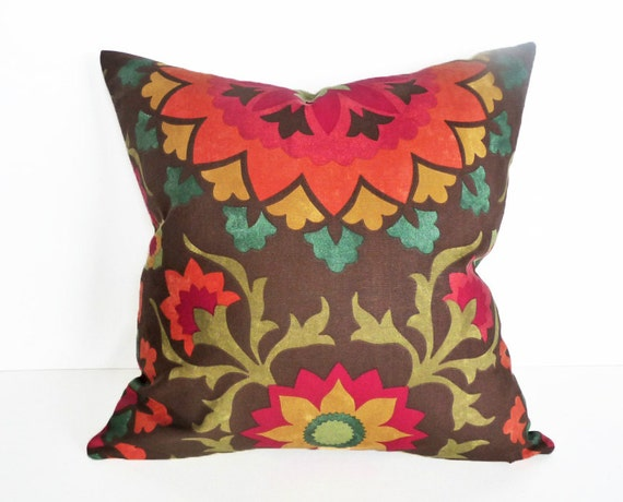 Medallion Pillow Covers Brown Decorative Pillows Brown Etsy Mesmerizing Medallion Pillow Covers