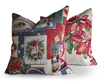 Vintage Christmas Cushion, Kids Christmas Pillow Covers, Poinsettia Pillow Cover, Two Styles, French Country Decor,  18x18, NEW