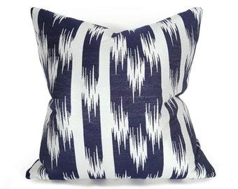 Blue White Ikat Pillow, 12x18, 18x18, Decorative Pillow, Blue White Pillow Covers, Navy Cushion, Indigo Pillows, Spring Decor