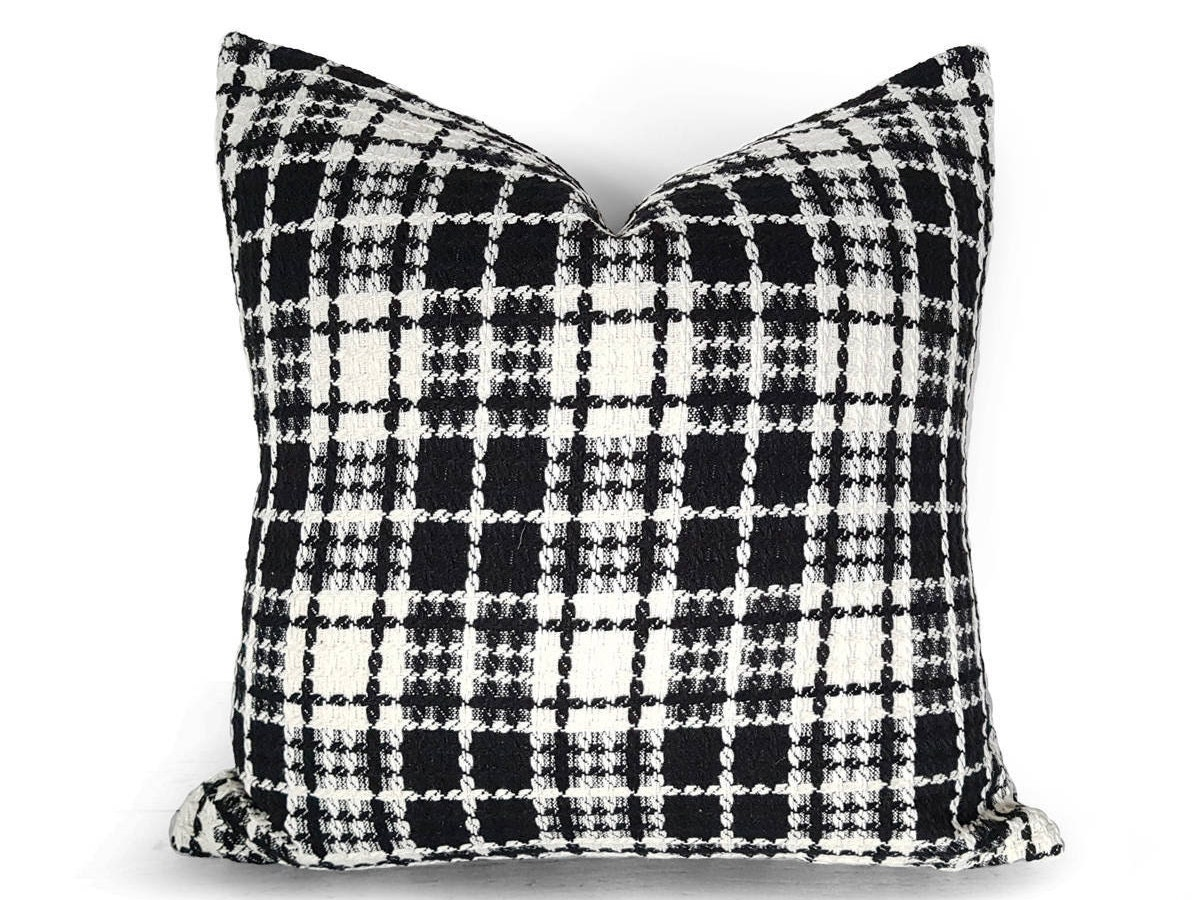 Black White Pillows Black White Plaid Pillows Lodge Pillows Wool Pillow Cover Cream Black Pillow Throw Pillows Textured 18x18 20x20