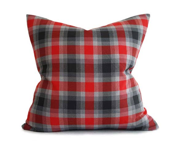 Red Grey Throw Pillows Plaid Pillow Covers Red Black Plaid Etsy Impressive Red And Black Decorative Pillows