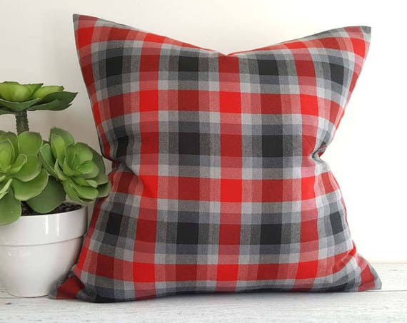 Red Grey Throw Pillows Plaid Pillow Covers Red Black Plaid Etsy Delectable Red And Gray Decorative Pillows