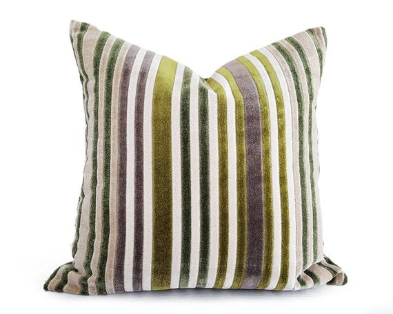 Green Velvet Pillow Striped Throw Pillow Cream Green  60fe693380ee